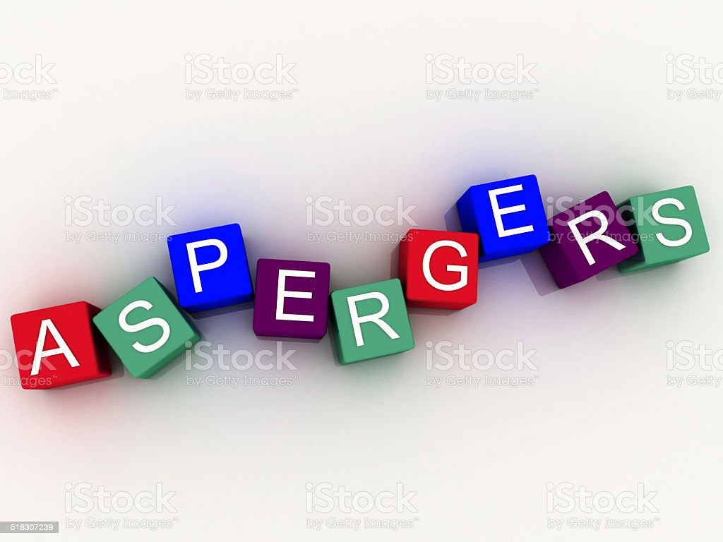 3d imagen Aspergers, scognitive behavior and autism spectrum. stock photo