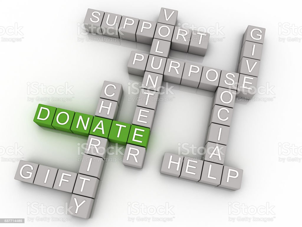 3d imagen Donate issues concept word cloud background stock photo