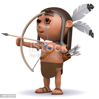 istock 3d Indian boy fires arrow 480762079