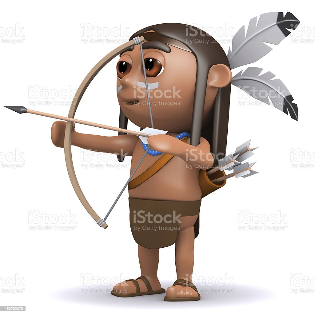 3d Indian boy fires arrow stock photo