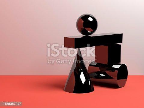 950775710 istock photo 3d installation of black geometric shapes 1138357247