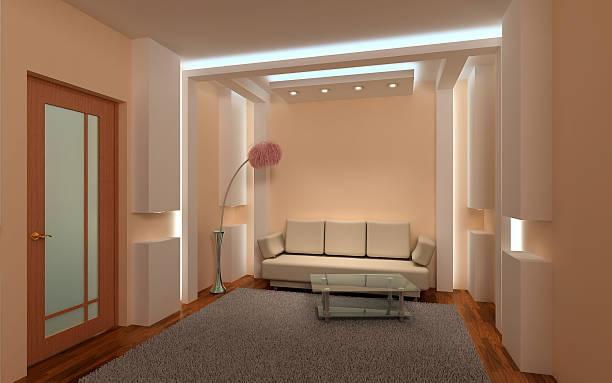 3 d Interior aconchegante sala de estar - foto de acervo