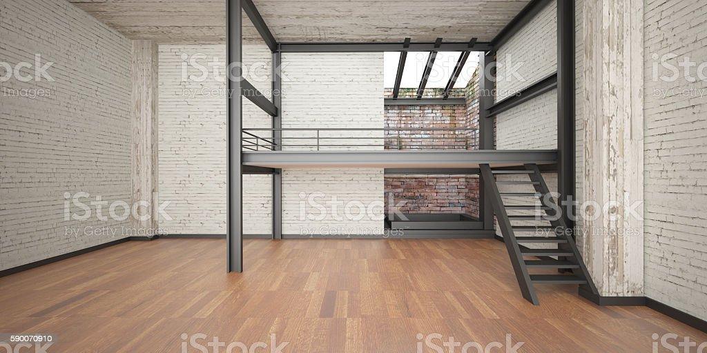 3d interior rendering industrial Mezzanine space and wood floor stock photo