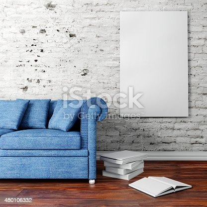 istock 3d interior  with a blank frames and wooden floor 480106332