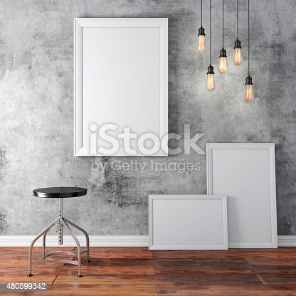 istock 3d interior  with a blank frames and wooden floor 480599342