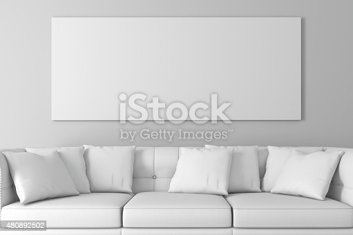 istock 3d interior  with a blank frames and wooden floor 480892502