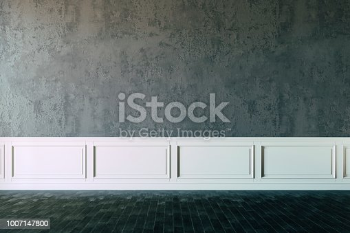 847138534 istock photo 3d interior with blank wall and wooden floor, render 1007147800