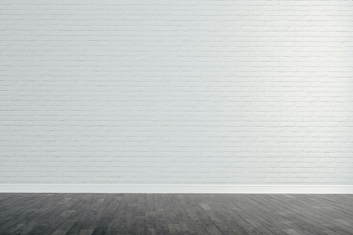 istock 3d interior with blank wall and wooden floor, render 947009016