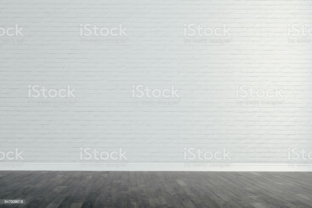 3d interior with blank wall and wooden floor, render stock photo