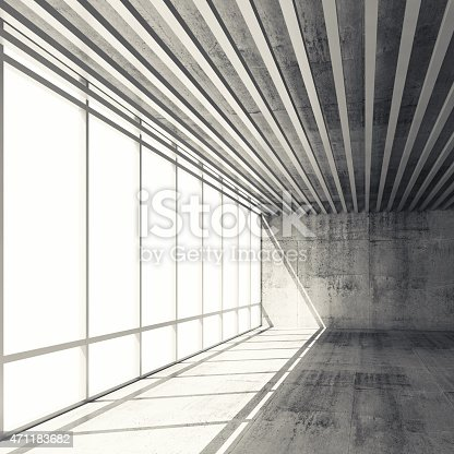 470934084 istock photo 3d interior with bright windows and gray concrete walls 471183682
