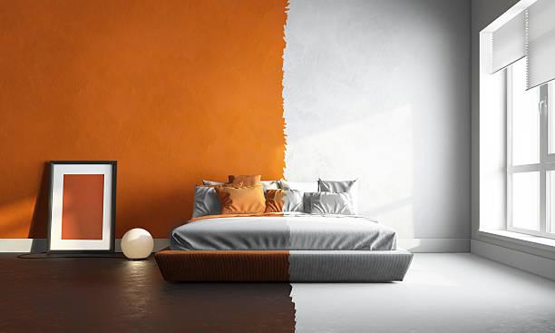 3d interor of orange-white bedroom 3d interor render of orange-white bedroom bed furniture stock pictures, royalty-free photos & images