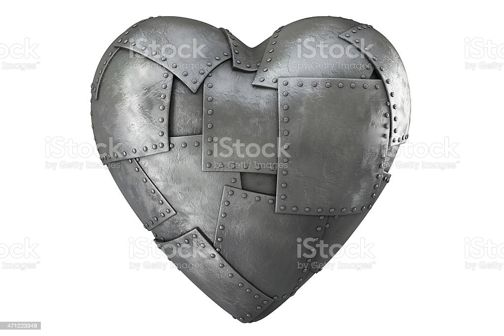 3d iron-clad heart stock photo
