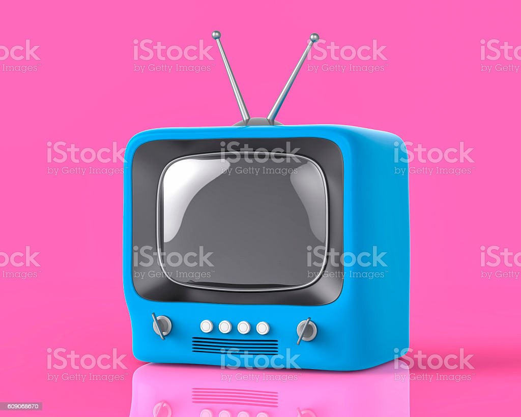 3d Isolated Blue Small TV Television. Retro Vintage Concept. stock photo