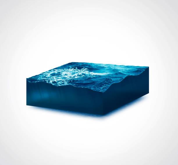 3D ilustración aislada sección mar de tormenta con grandes olas sobre fondo blanco - foto de stock