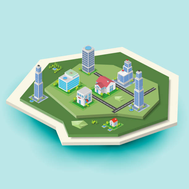 3d isometric city buildings and landscape island - advertising isometric stock pictures, royalty-free photos & images