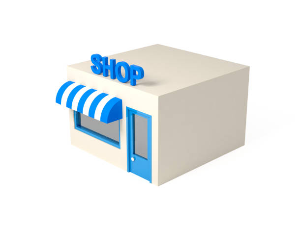 3d isometric style shop illustration - advertising isometric stock photos and pictures