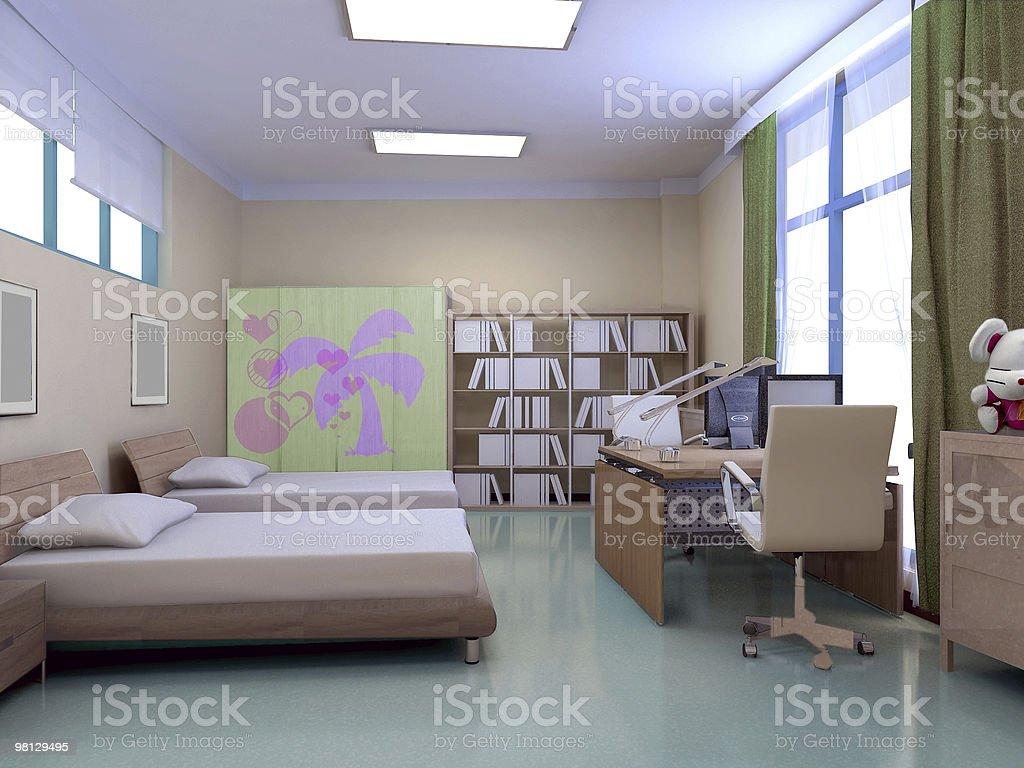 3d kindergarten bedroom royalty-free stock photo