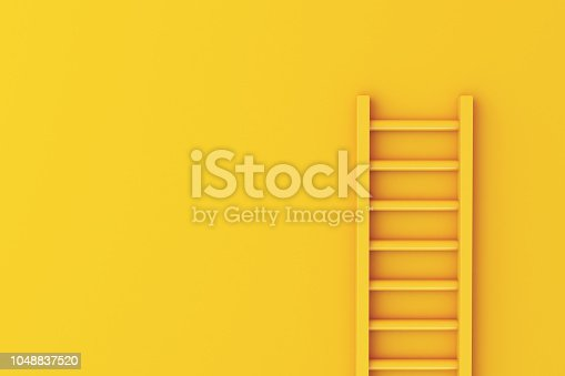 1048837520 istock photo 3d Ladder on yellow wall background 1048837520