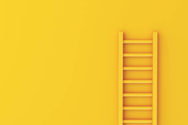 3d Ladder on yellow wall background stock photo