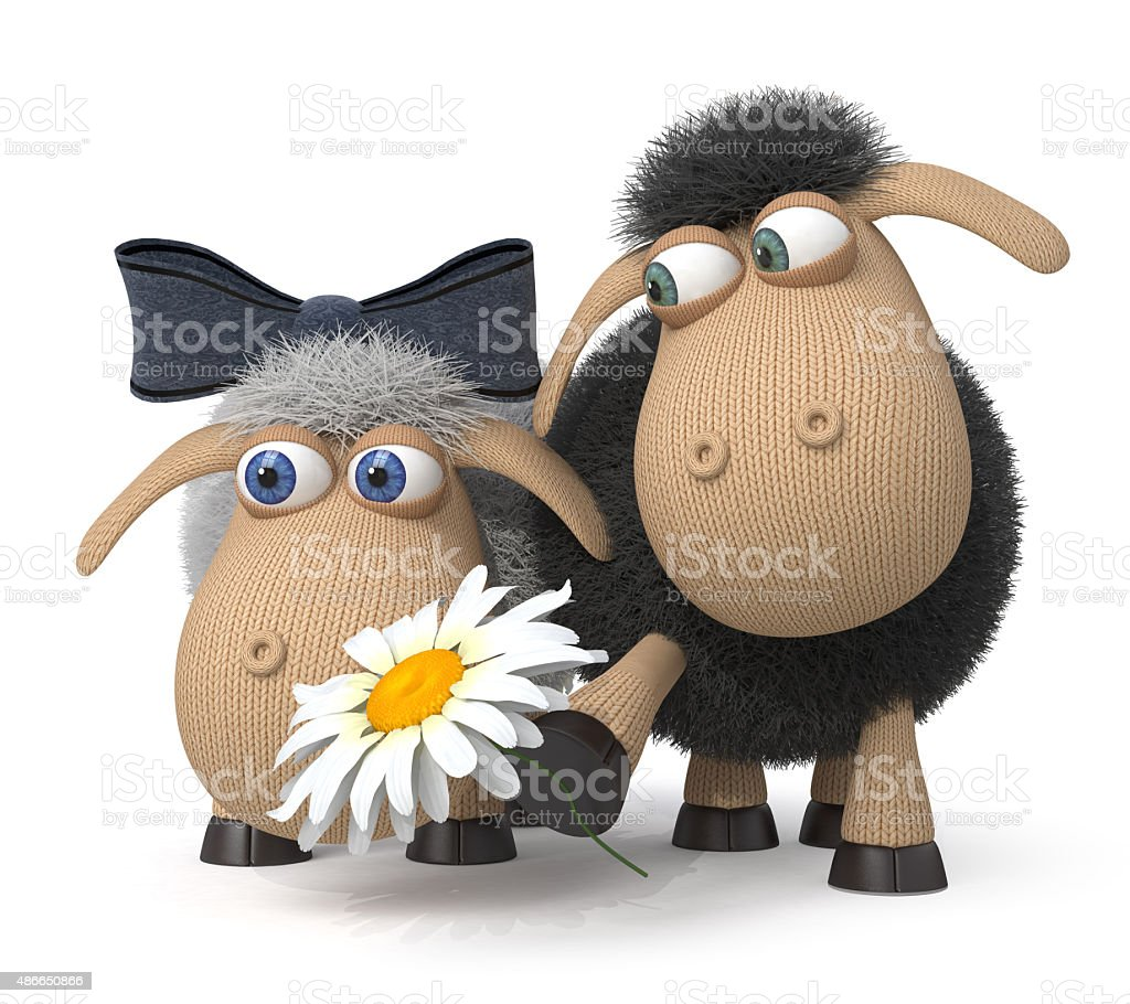 3d Lambs on a lawn stock photo