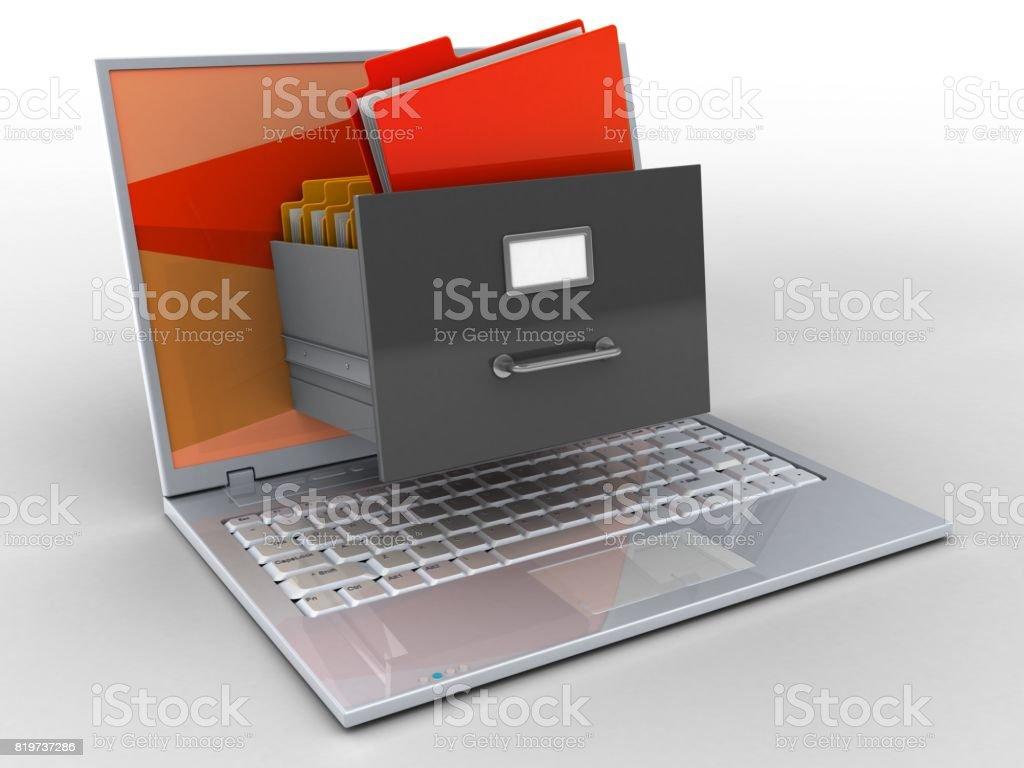 3D laptop y archivo - foto de stock