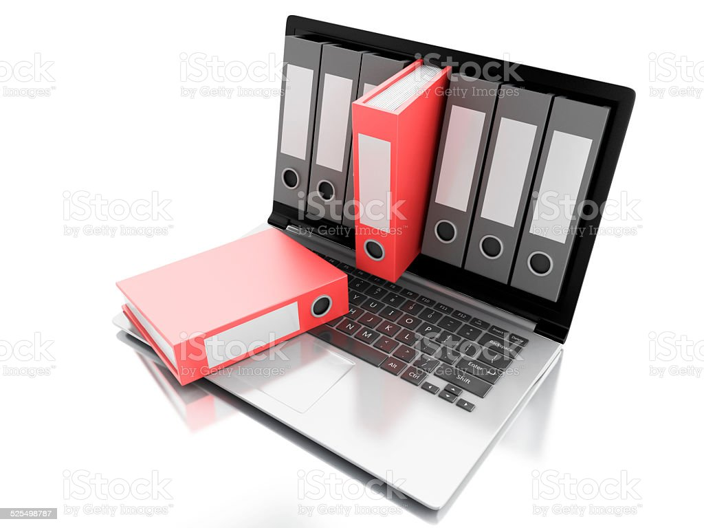3d Laptop and files. isolated white background stock photo