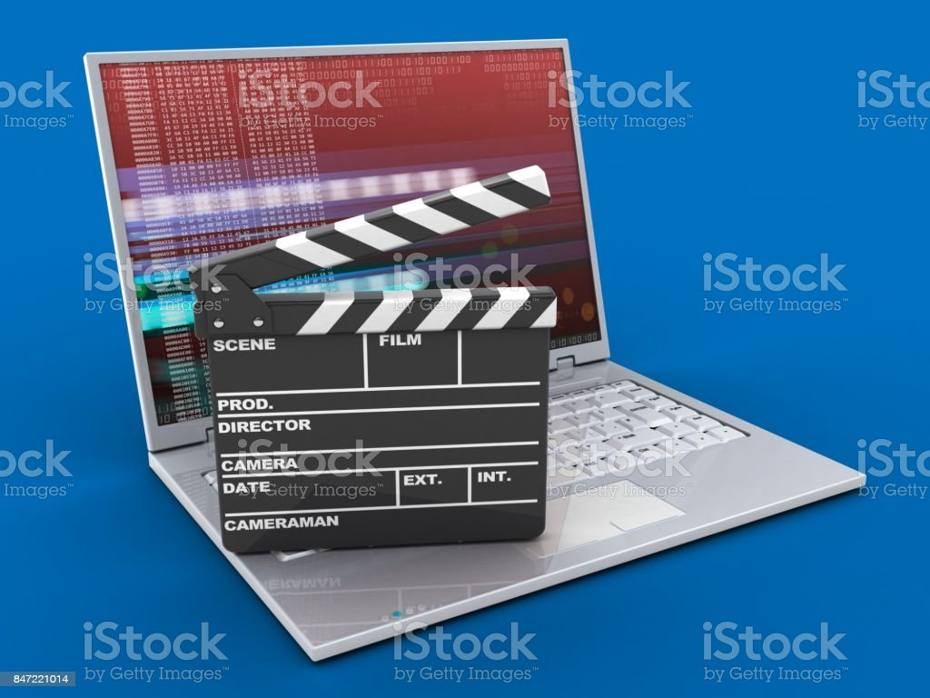 3d laptop and film clap stock photo