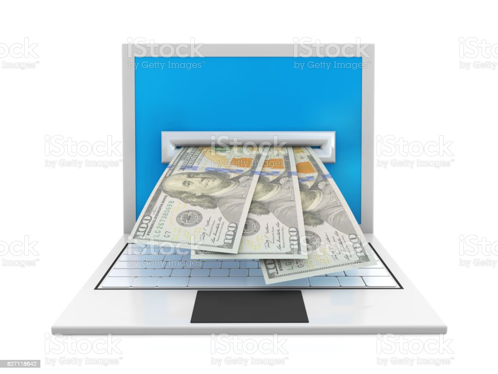 3d laptop computer and banknotes stock photo