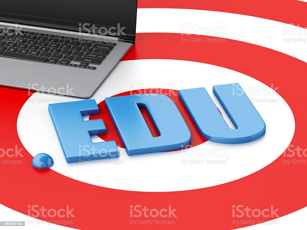 3d Laptop pc and word EDU on target stock photo