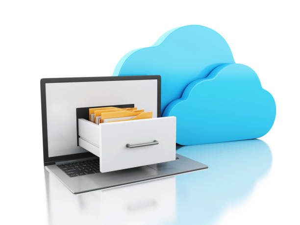 3d Laptop with folders and cloud. Online storage concept. stock photo