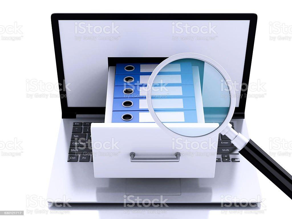 3 d computer portatile con raccoglitori ad anello. Lo storage dei dati. - foto stock