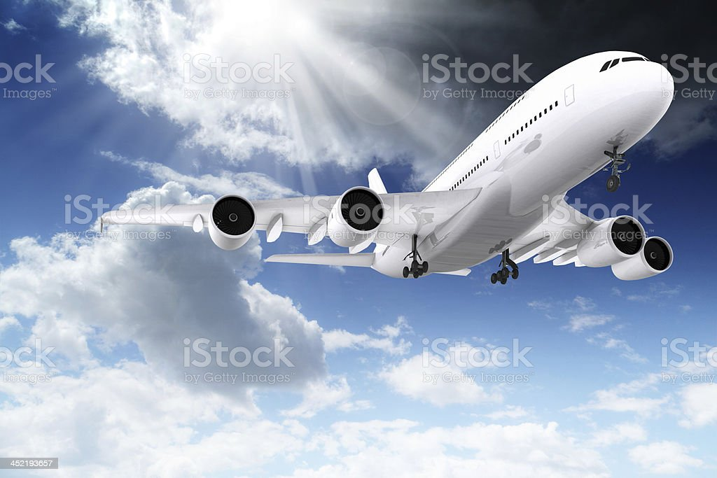 3d large passenger plane flying in the blue sky royalty-free stock photo