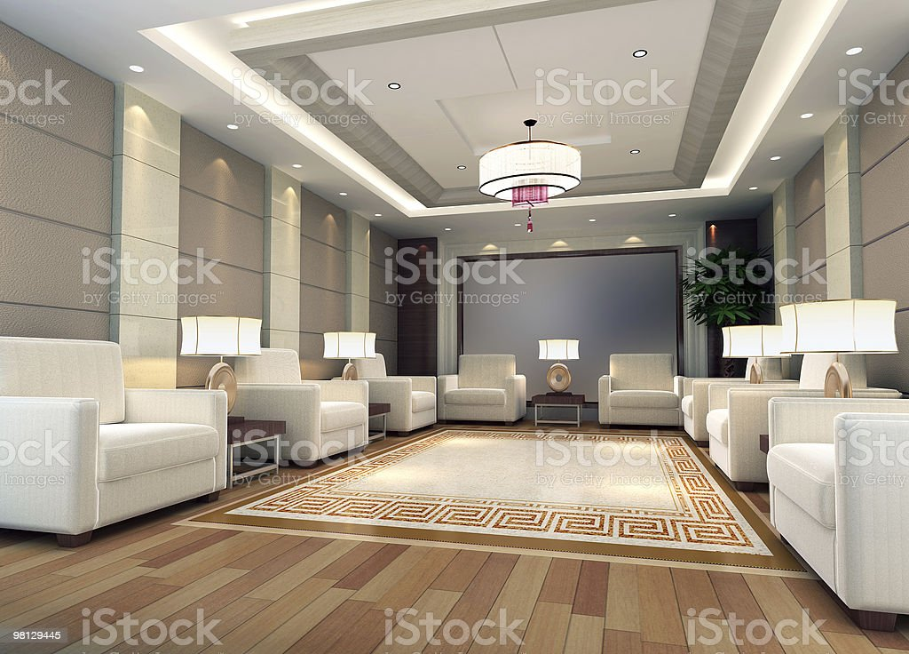 3d large reception room rendering royalty-free stock photo