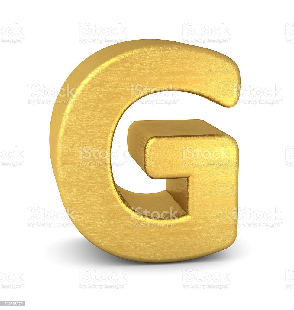 3d letter G gold stock photo