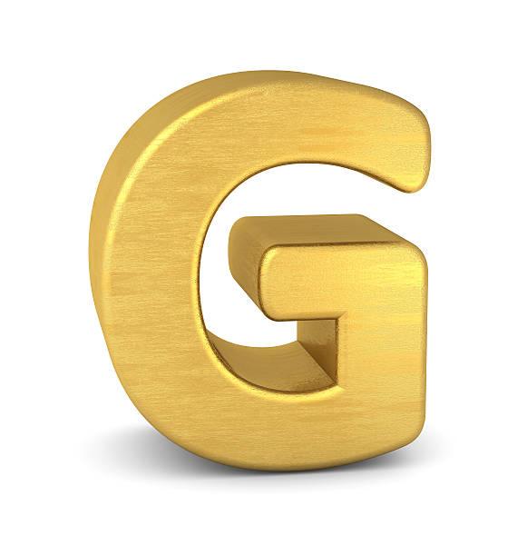 3d letter G gold stock photo