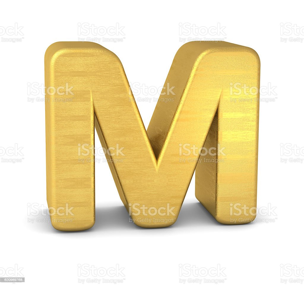 3d letter M gold stock photo