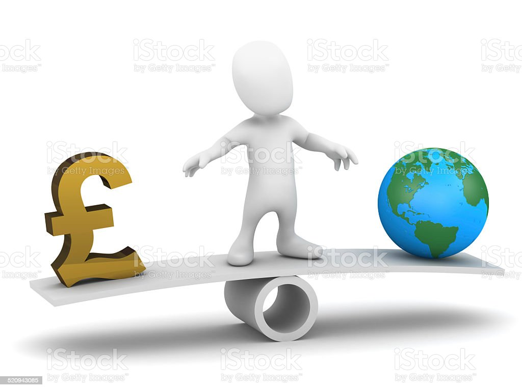 3d Little man balances money and the world stock photo