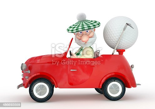 istock 3d little man golfist  by car. 486693559