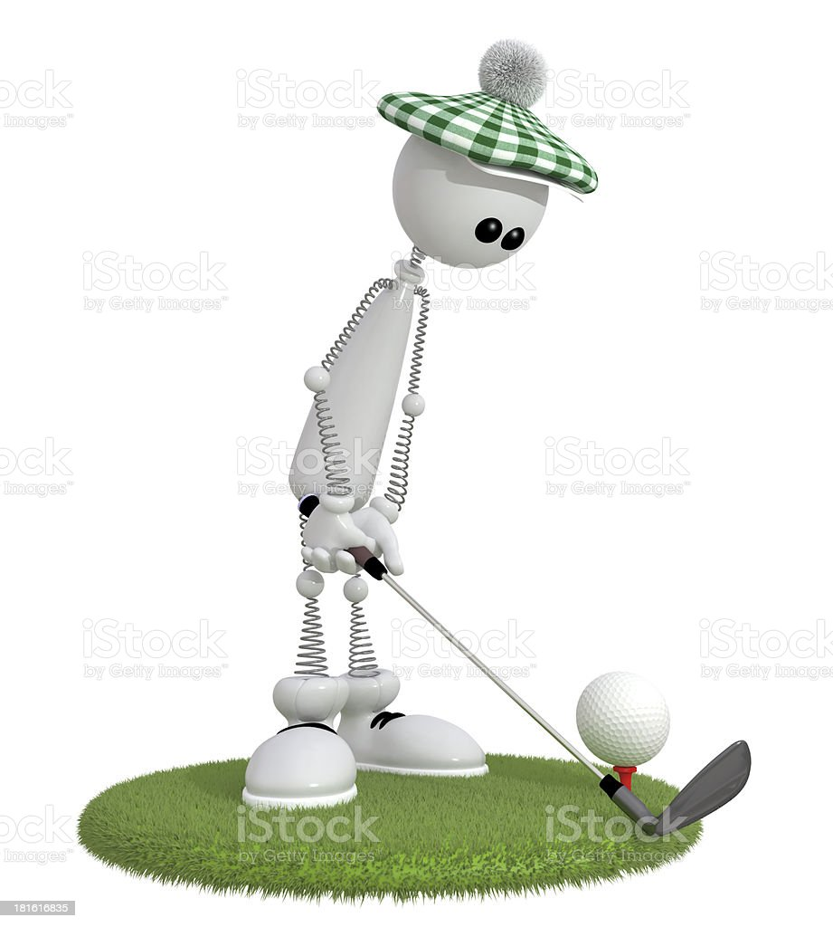 3d little man golfist. royalty-free stock photo
