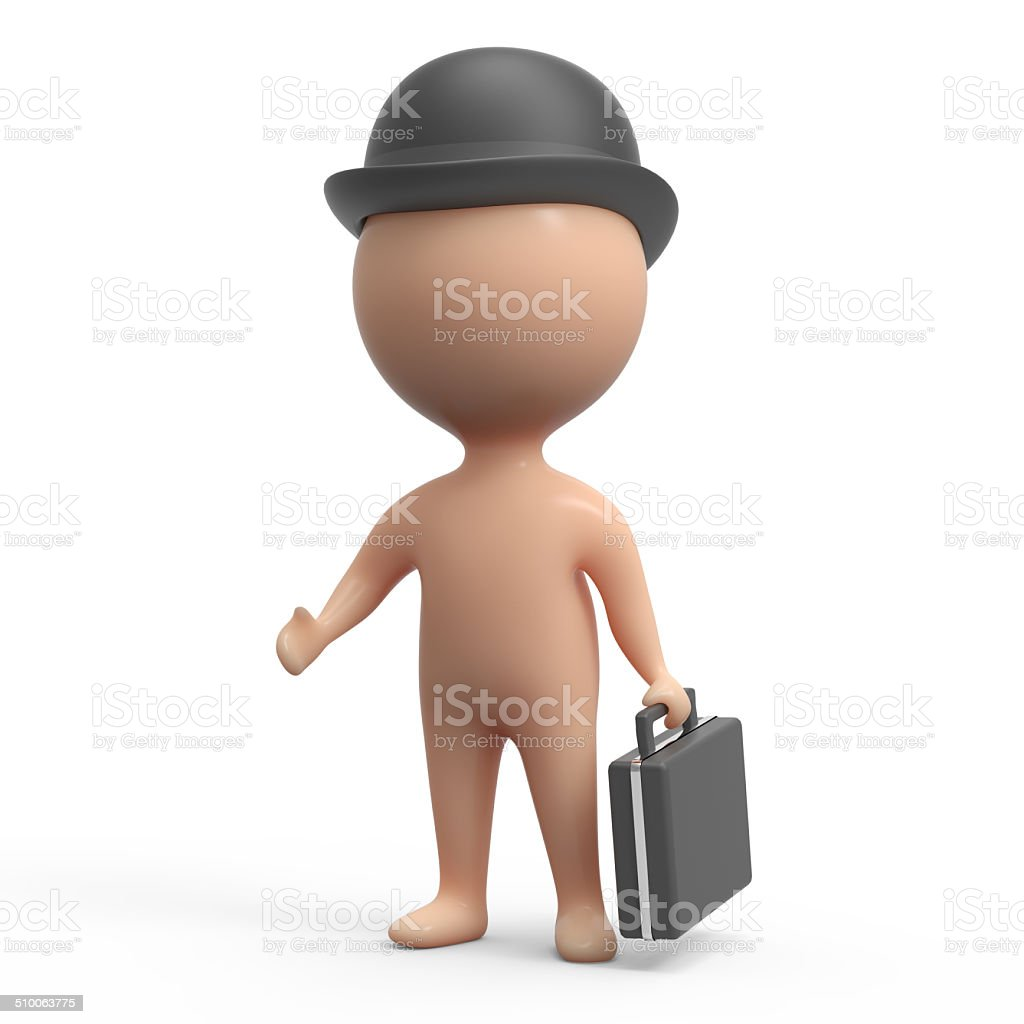 3d Little man is a businessman with briefcase stock photo