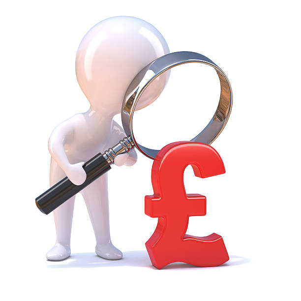 3d Little Man Magnifies The Uk Pound Sterling Symbol Stock Photo