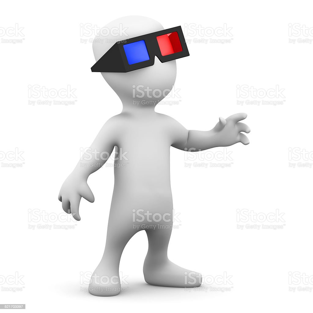 3d Little man wearing 3d glasses stock photo