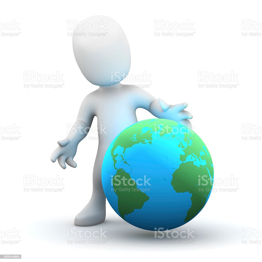 3d Little man with a globe stock photo
