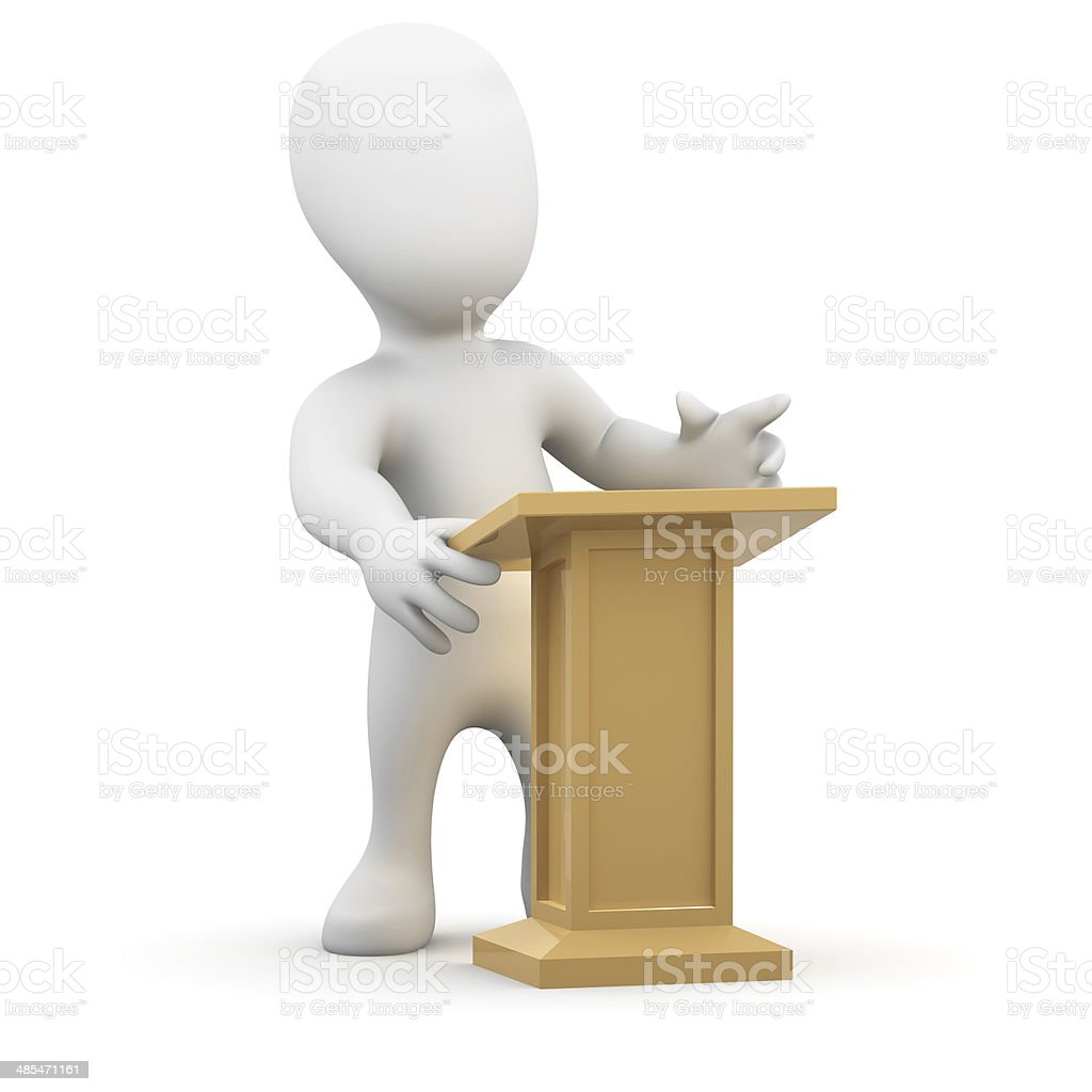 3d Little Person At The Lectern Stock Photo Download Image Now Istock
