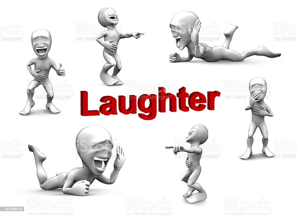 3d little person very loud laughs stock photo