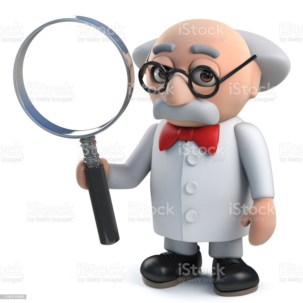 3d Mad Scientist Character Holding A Magnifying Glass Stock Photo Download Image Now Istock