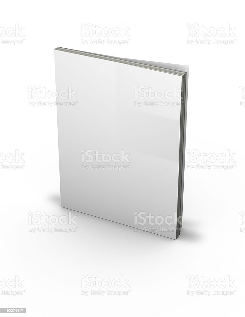 3d magazine with empty cover, standing on floor stock photo