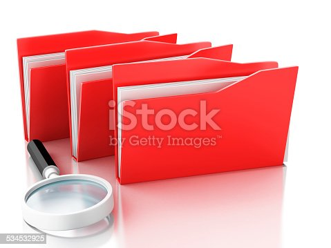 468153365 istock photo 3d magnifying glass and computer files 534532925