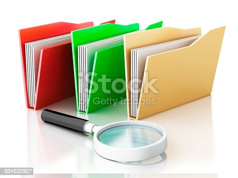468153365 istock photo 3d magnifying glass and computer files 534532927