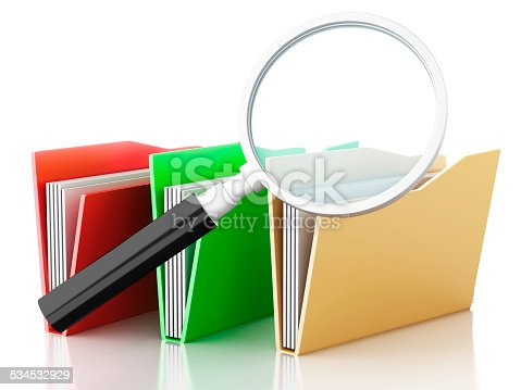 468153365 istock photo 3d magnifying glass and computer files 534532929